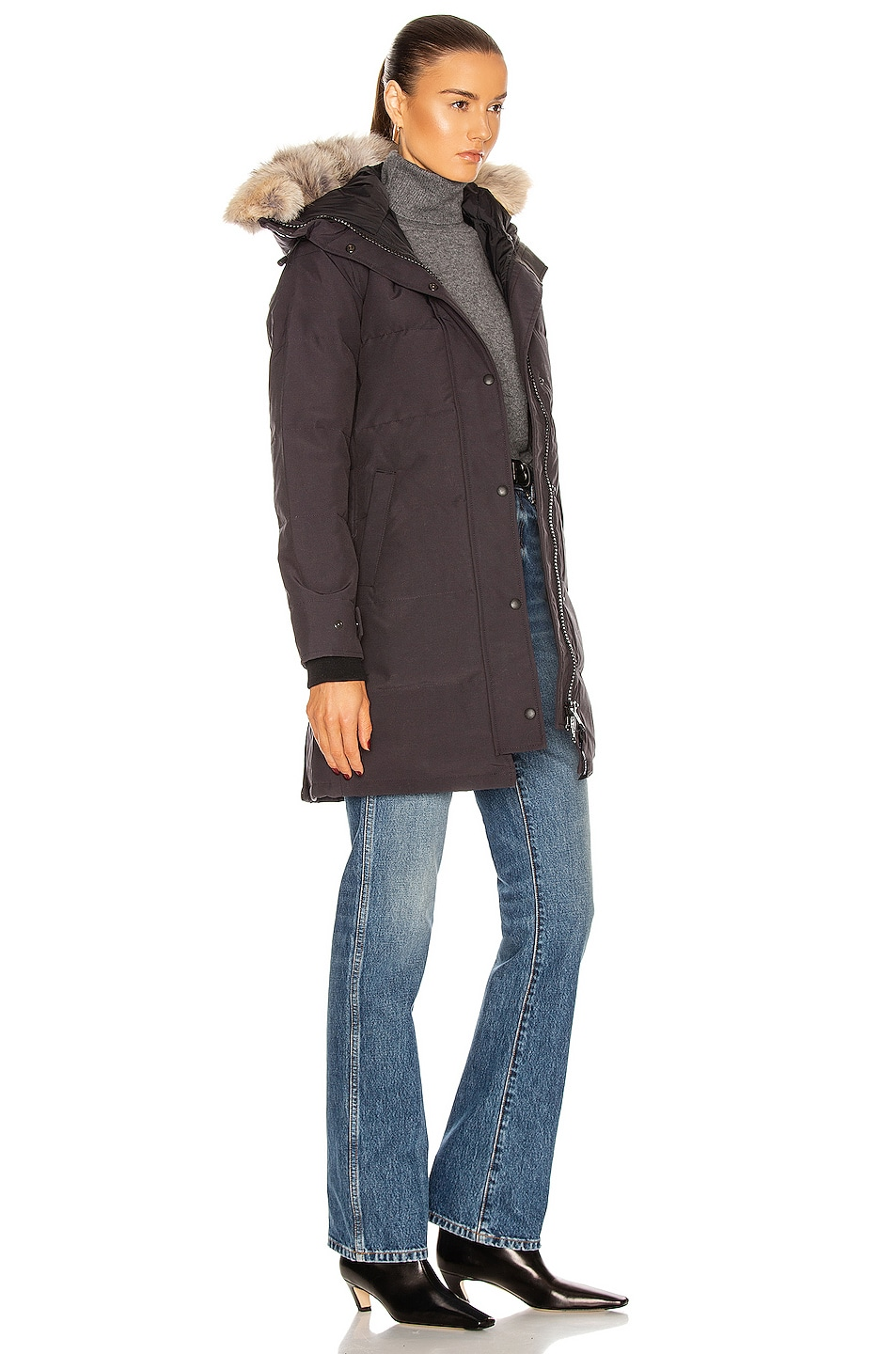 Image 3 of Canada Goose Shelburne Parka with Coyote Fur in Navy