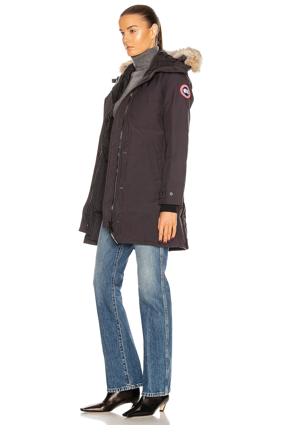 Image 4 of Canada Goose Shelburne Parka with Coyote Fur in Navy