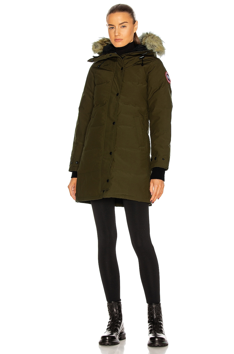 Image 2 of Canada Goose Shelburne Parka with Coyote Fur in Military Green