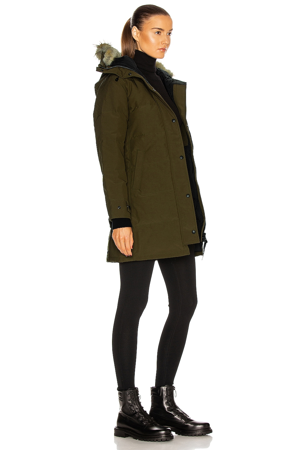 Image 3 of Canada Goose Shelburne Parka with Coyote Fur in Military Green