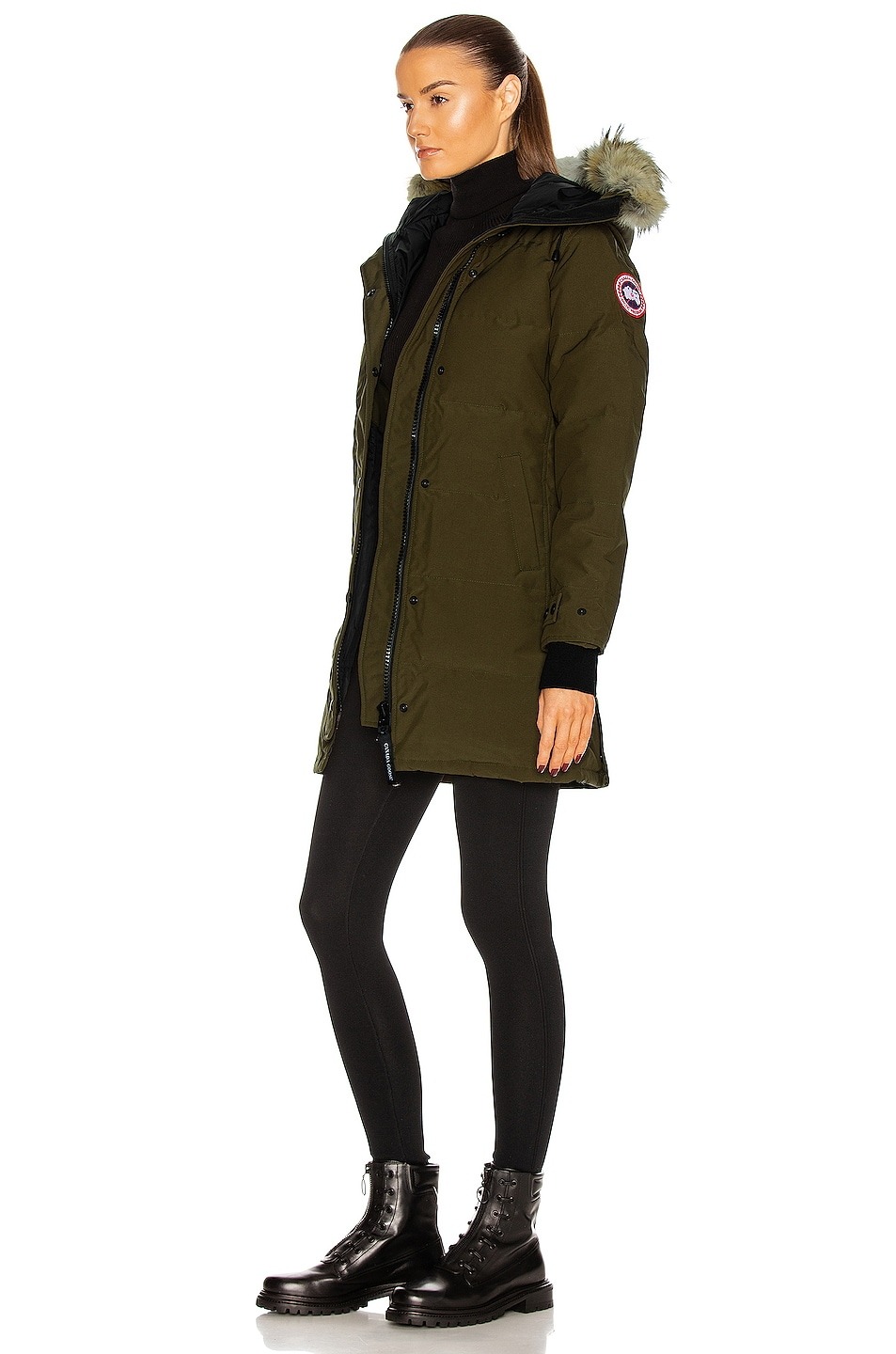 Image 4 of Canada Goose Shelburne Parka with Coyote Fur in Military Green