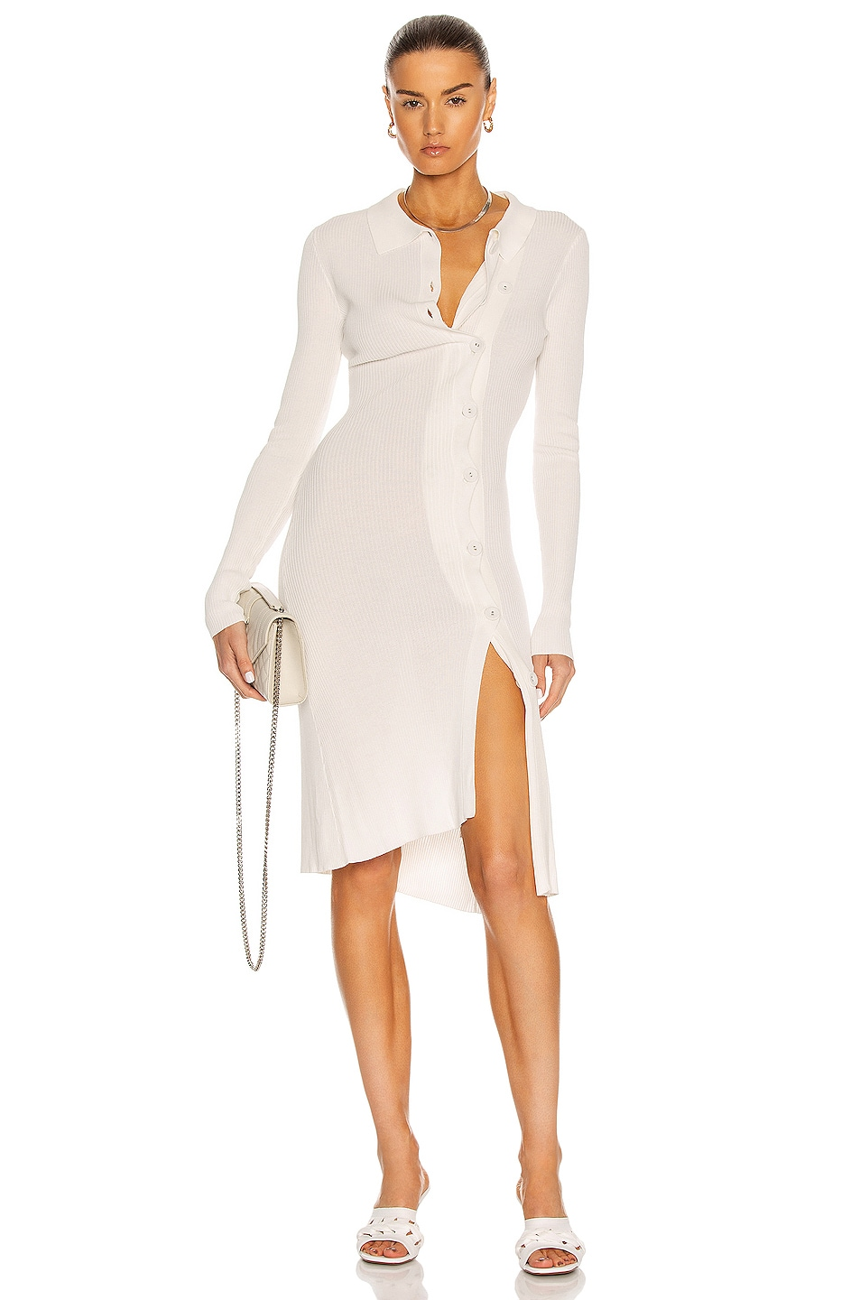 Image 1 of Christopher Esber Double Button Knit Dress in Natural