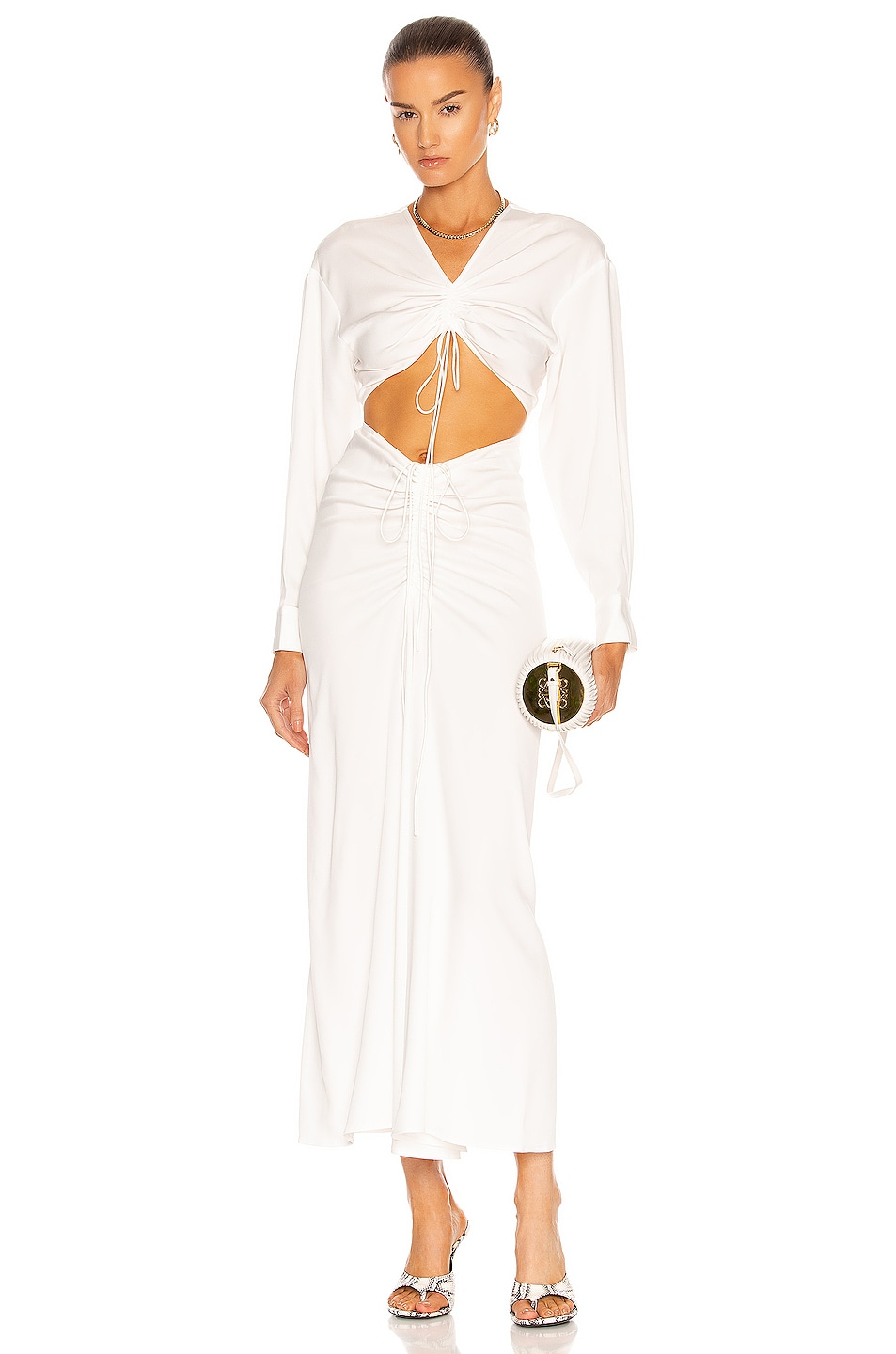 Image 1 of Christopher Esber Ruched Tie Front Dress in Natural