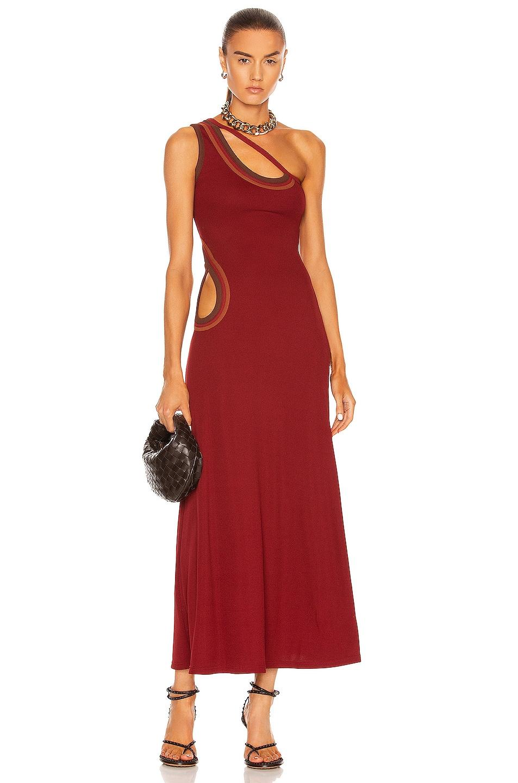 Image 1 of Christopher Esber Dual Paisley Bound Dress in Lipstick Multi