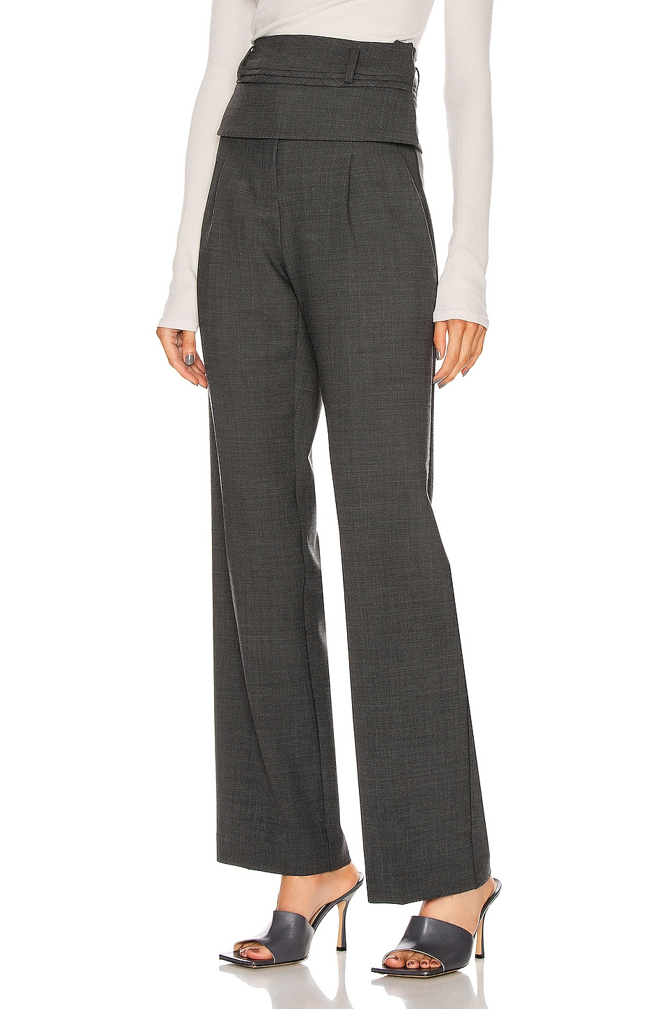 Image 1 of Christopher Esber Double Belted Trouser Pant in Charcoal