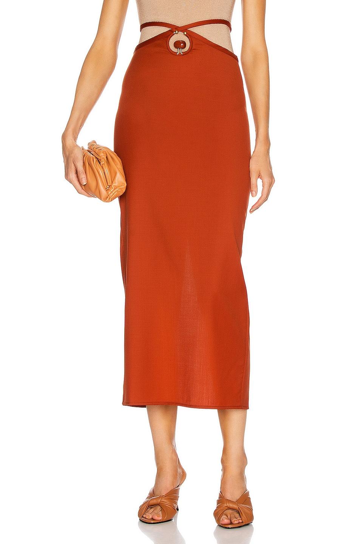 Image 1 of Christopher Esber Orbit Quartz Loophole Tie Skirt in Terracotta & Red Jasper