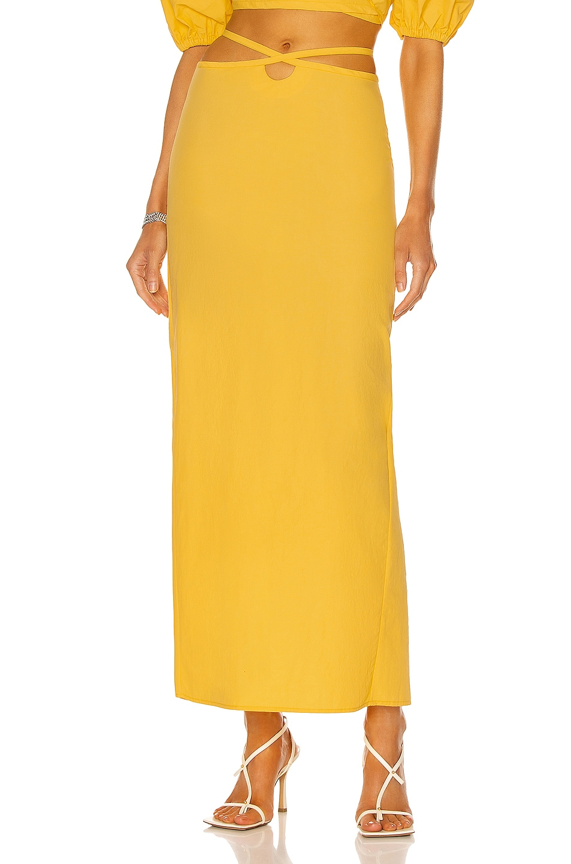 Image 1 of Christopher Esber Loophole Tie Skirt in Lemon