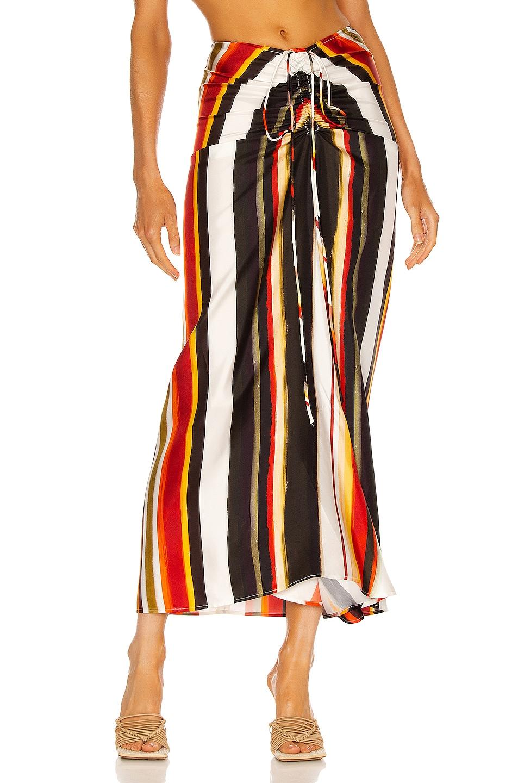 Image 1 of Christopher Esber Ruched Skirt in White Multi Stripe