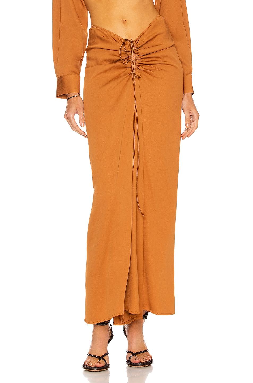 Image 1 of Christopher Esber Ruched Skirt in Caramel
