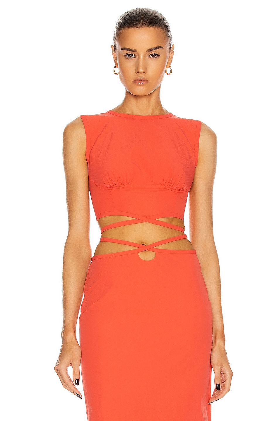 Image 1 of Christopher Esber Underwire Crop Top in Coral