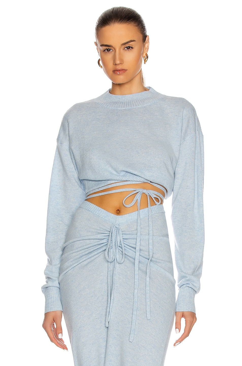 Image 1 of Christopher Esber Oversize Crop Tie Knit Top in Dusty Blue Marble
