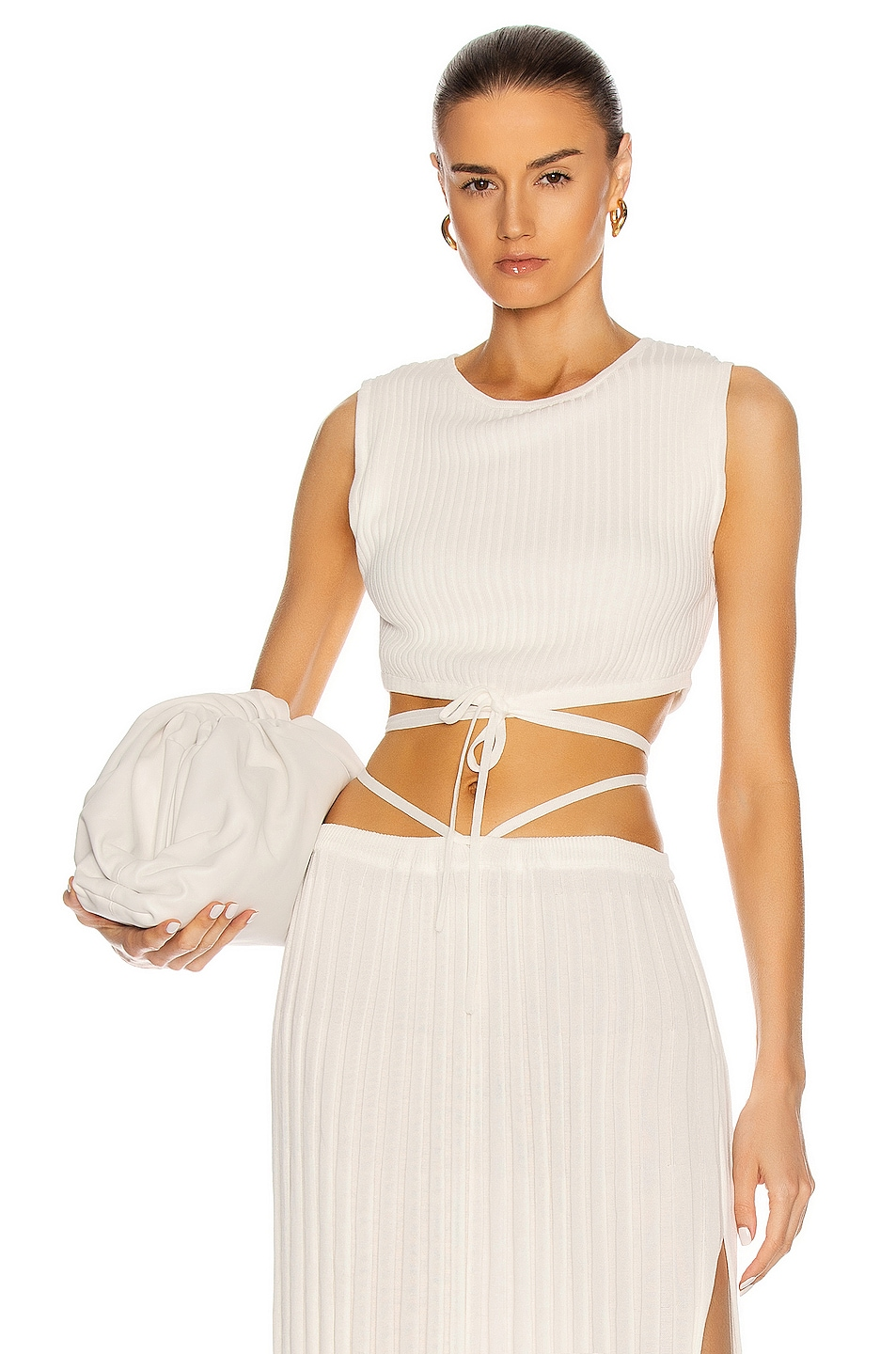 Image 1 of Christopher Esber Sleeveless Knit Tie Crop Top in Natural