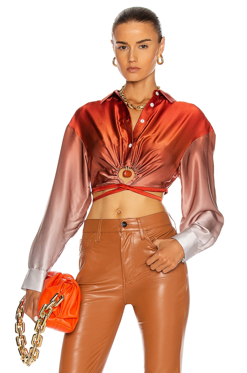Image 1 of Christopher Esber Orbit Crop Tie Shirt in Opposite Gradient & Red Jasper