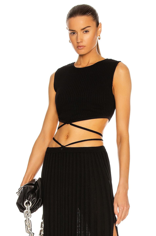 Image 1 of Christopher Esber Sleeveless Knit Tie Crop Top in Black
