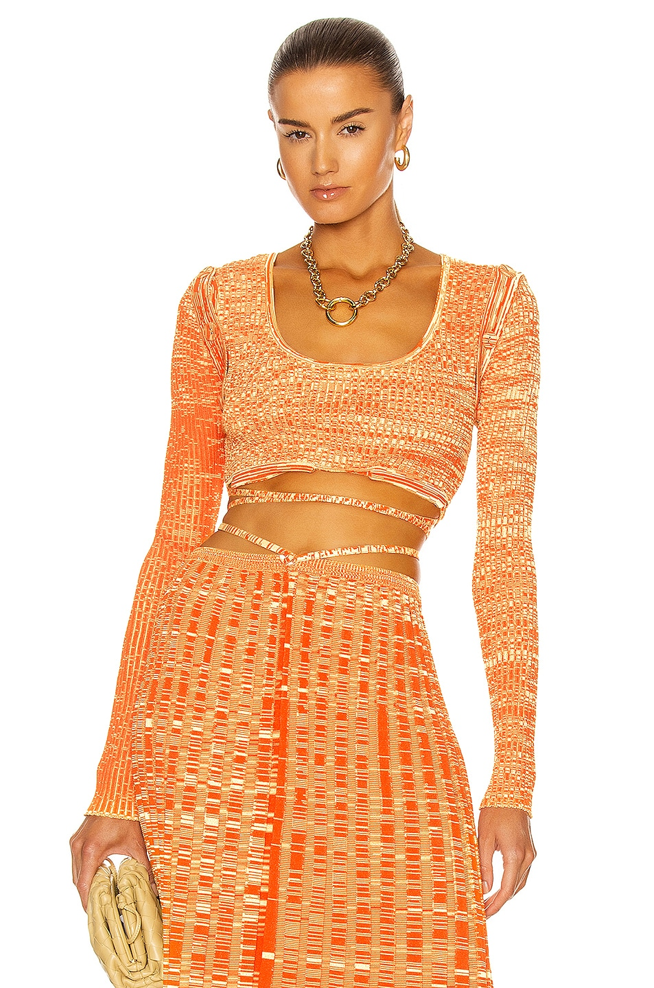 Image 1 of Christopher Esber Deconstructed Knit Tie Crop Top in Tangerine Marle