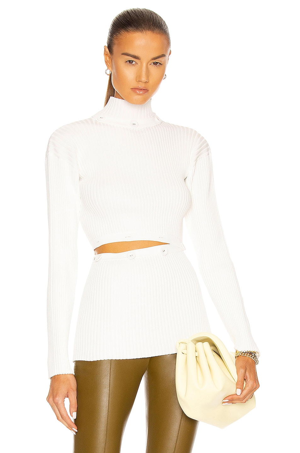 Image 1 of Christopher Esber Deconstructed Long Sleeve Skivvy Top in Natural