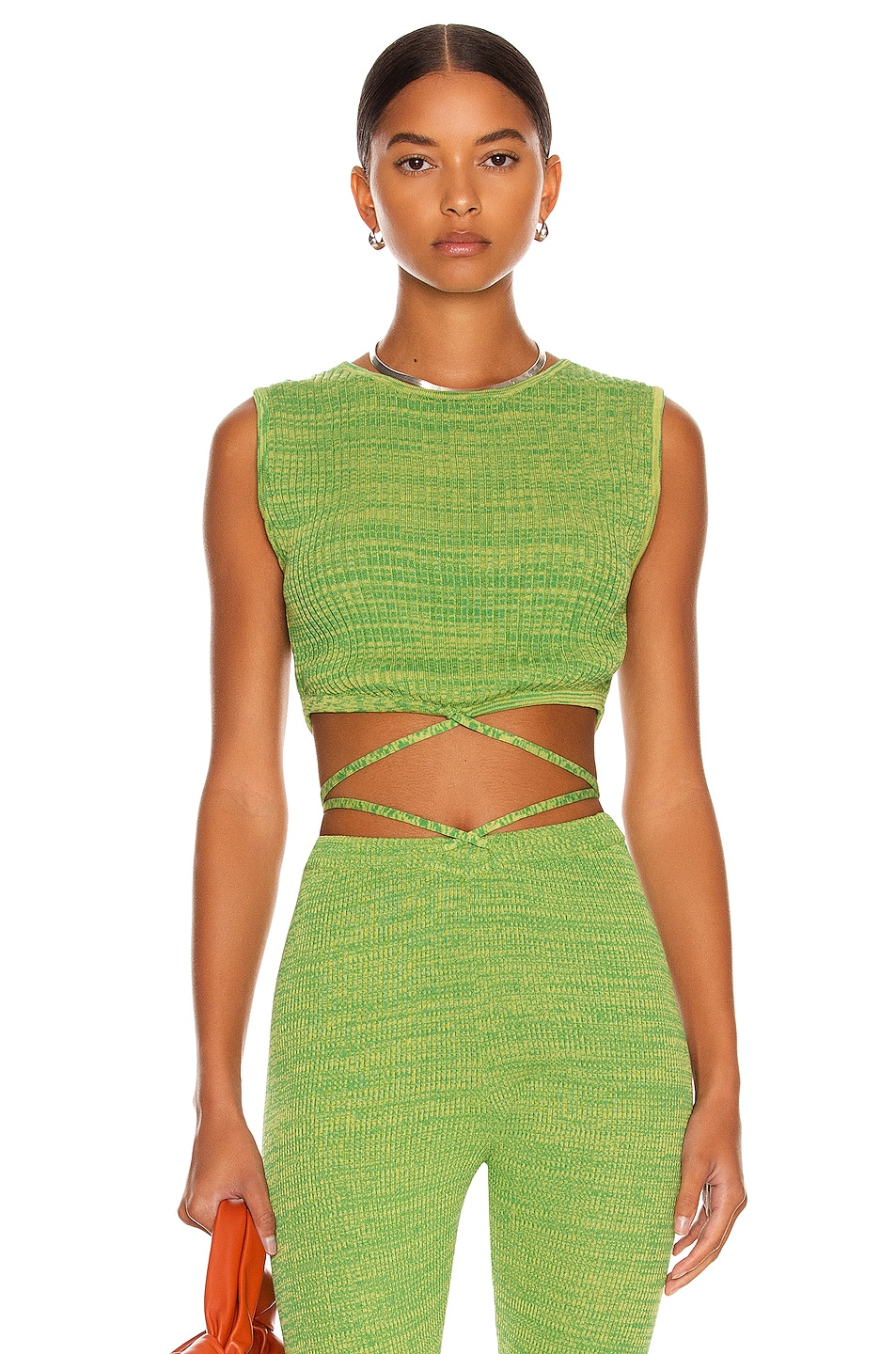 Image 1 of Christopher Esber Sleeveless Knit Tie Crop Top in Lime Marle