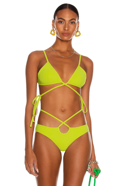 Image 1 of Christopher Esber Wrapped Tie Bikini Top in Citron Vert