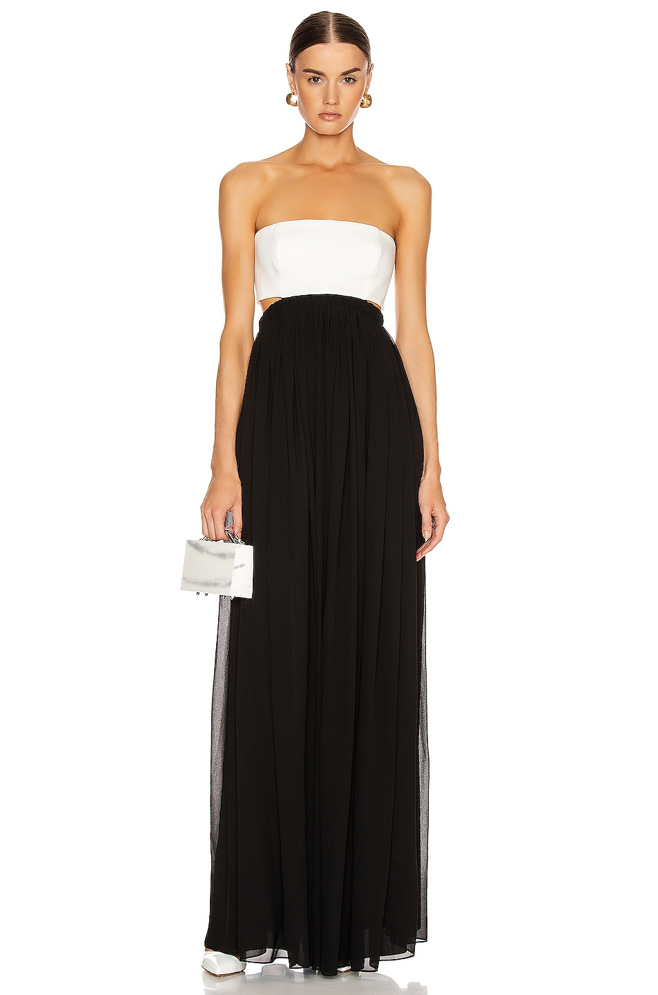 Image 1 of Cinq a Sept Aries Gown in Black & Ivory