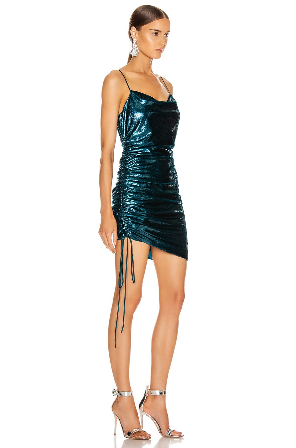 Image 2 of Cinq a Sept Shiny Astrid Dress in Teal Topaz