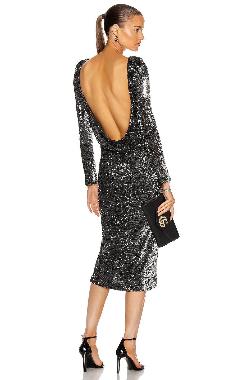 Image 1 of Cinq a Sept Julieann Dress in Silver & Black