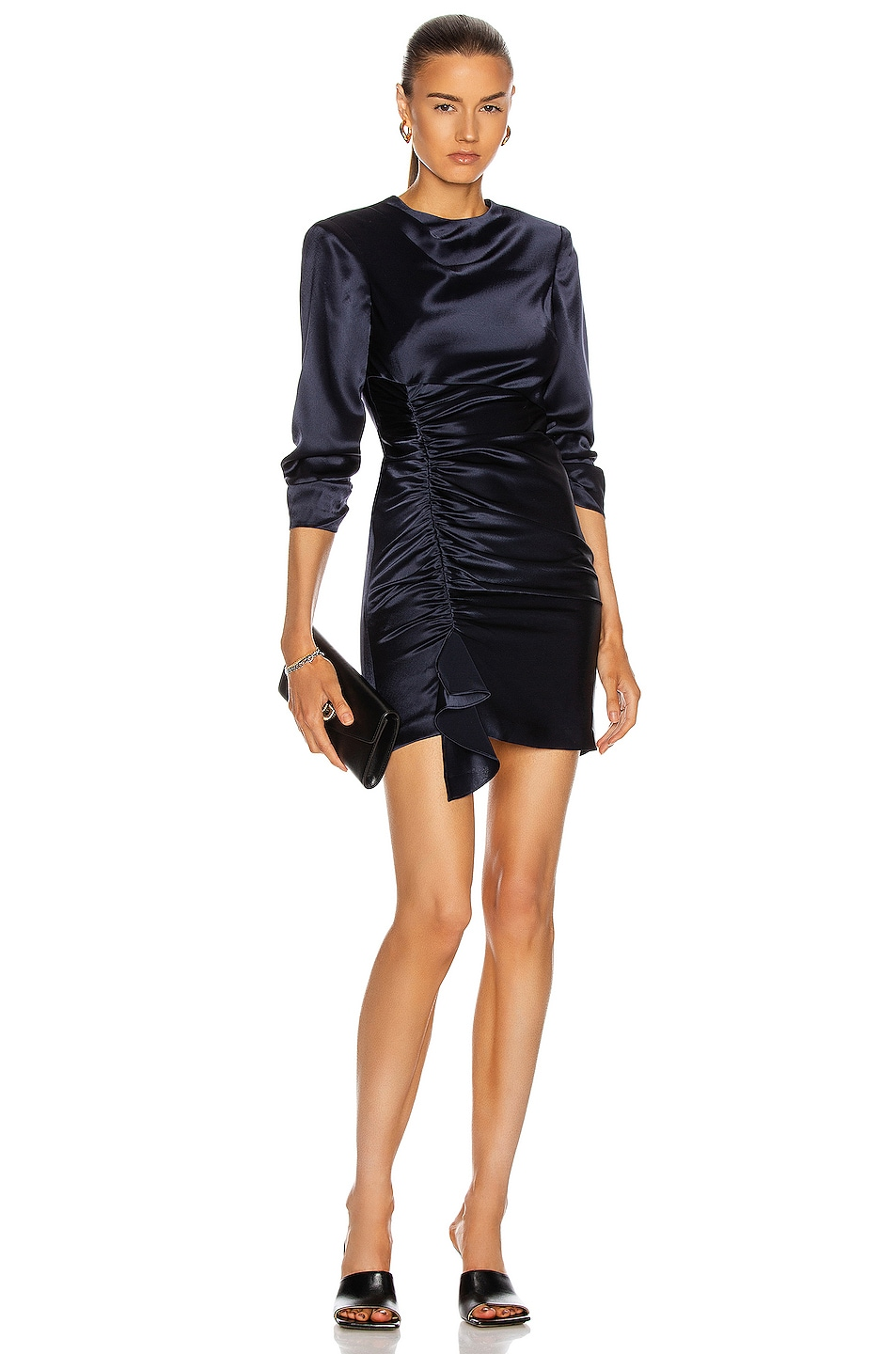 Image 1 of Cinq a Sept Smooth Satin Natalia Dress in Navy