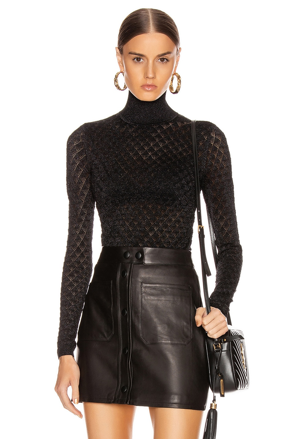 Image 1 of Cinq a Sept Lilette Turtleneck Top in Black Metallic