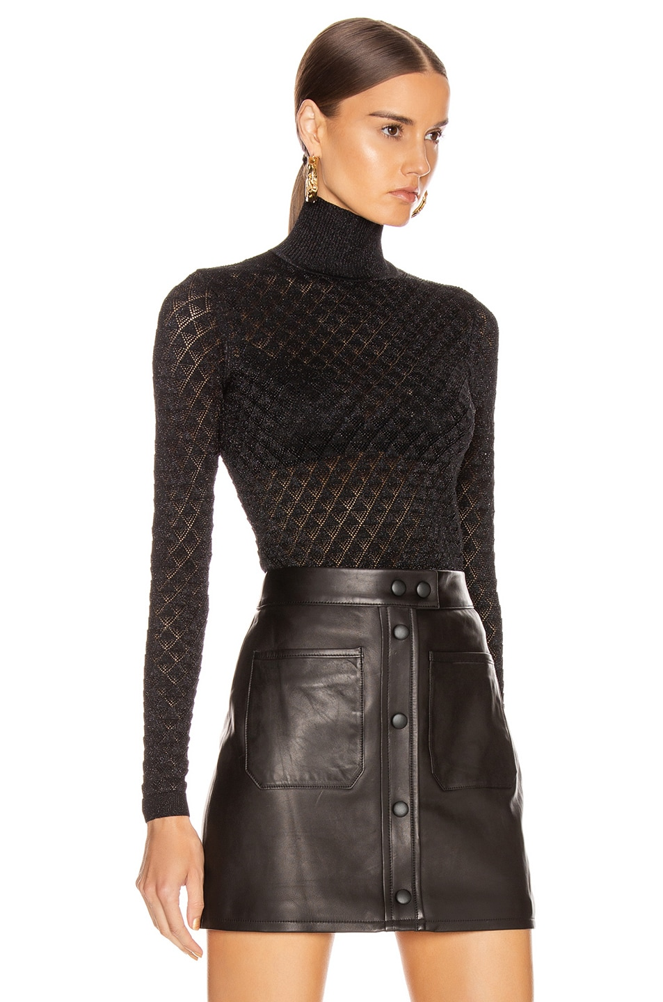 Image 2 of Cinq a Sept Lilette Turtleneck Top in Black Metallic
