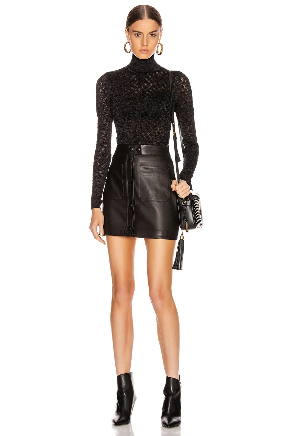 Image 4 of Cinq a Sept Lilette Turtleneck Top in Black Metallic