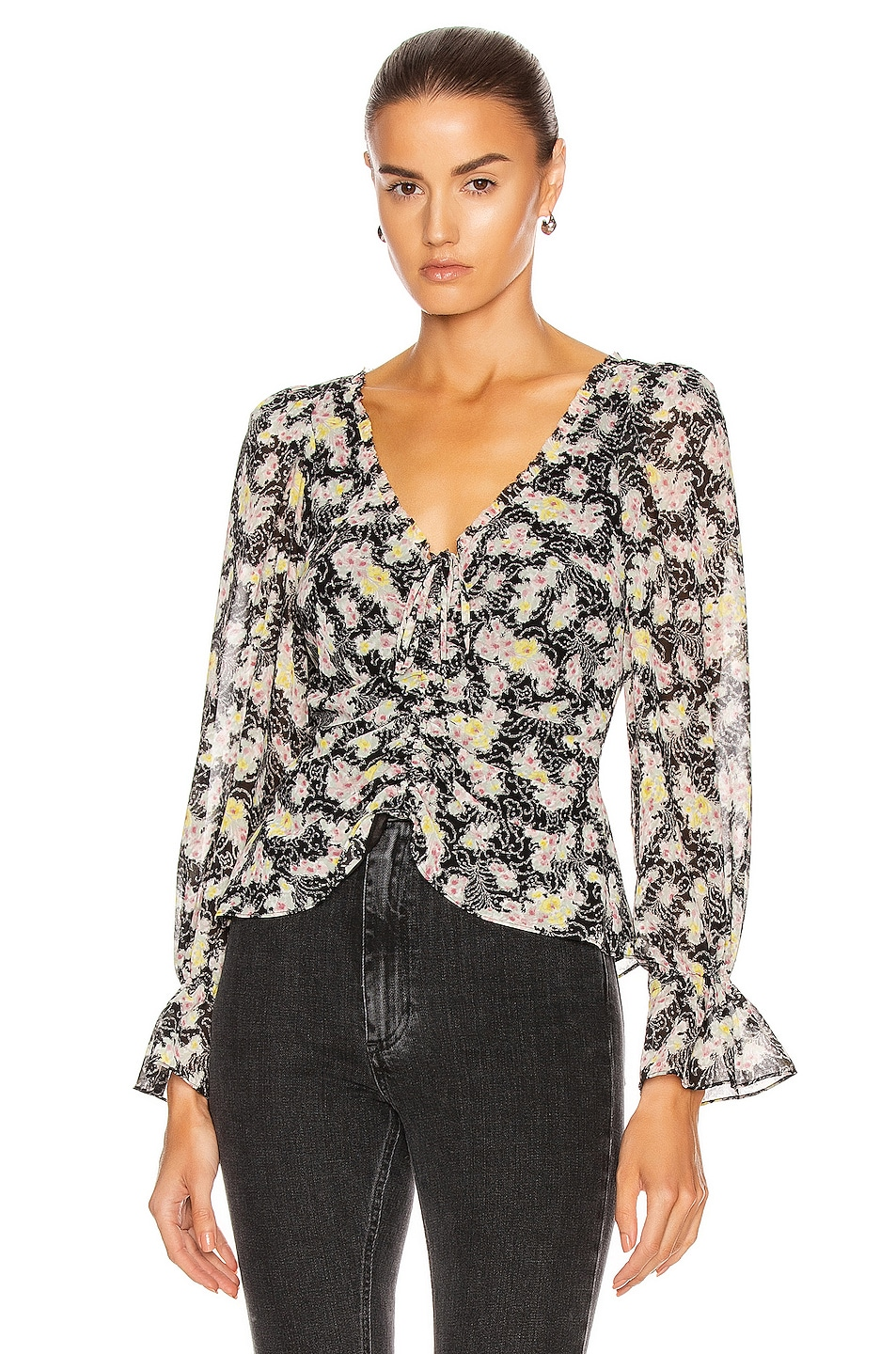 Image 1 of Cinq a Sept Long Sleeve Kimberly Top in Black & Multi