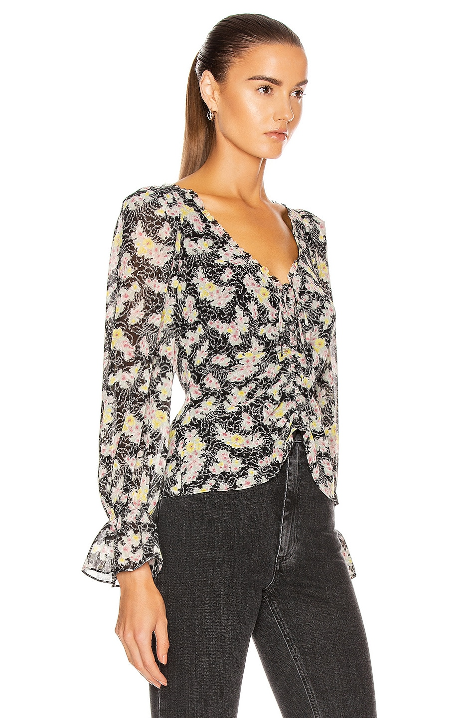 Image 2 of Cinq a Sept Long Sleeve Kimberly Top in Black & Multi