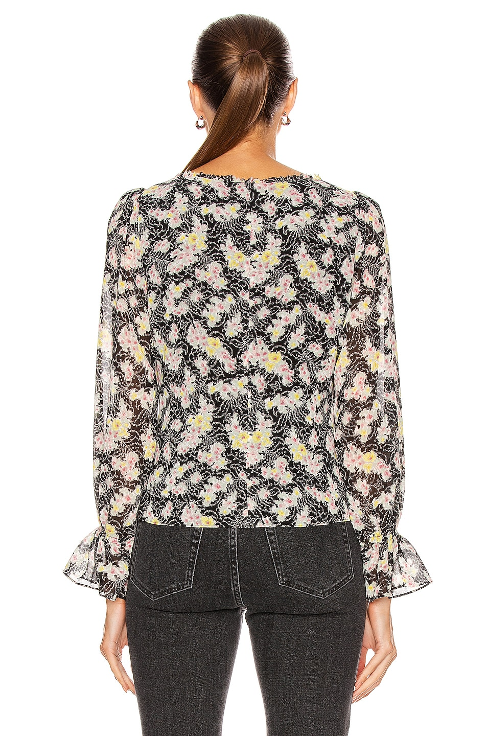 Image 3 of Cinq a Sept Long Sleeve Kimberly Top in Black & Multi
