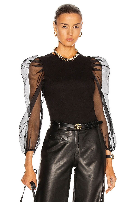 Image 1 of Cinq a Sept Long Sleeve Julie Tee in Black