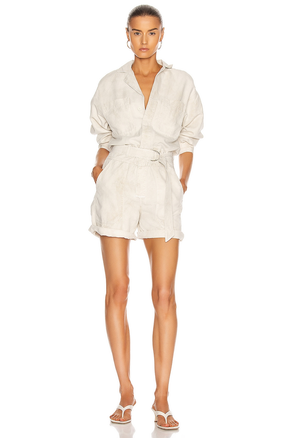 Image 1 of Citizens of Humanity Willa Utility Romper in Sand Castle
