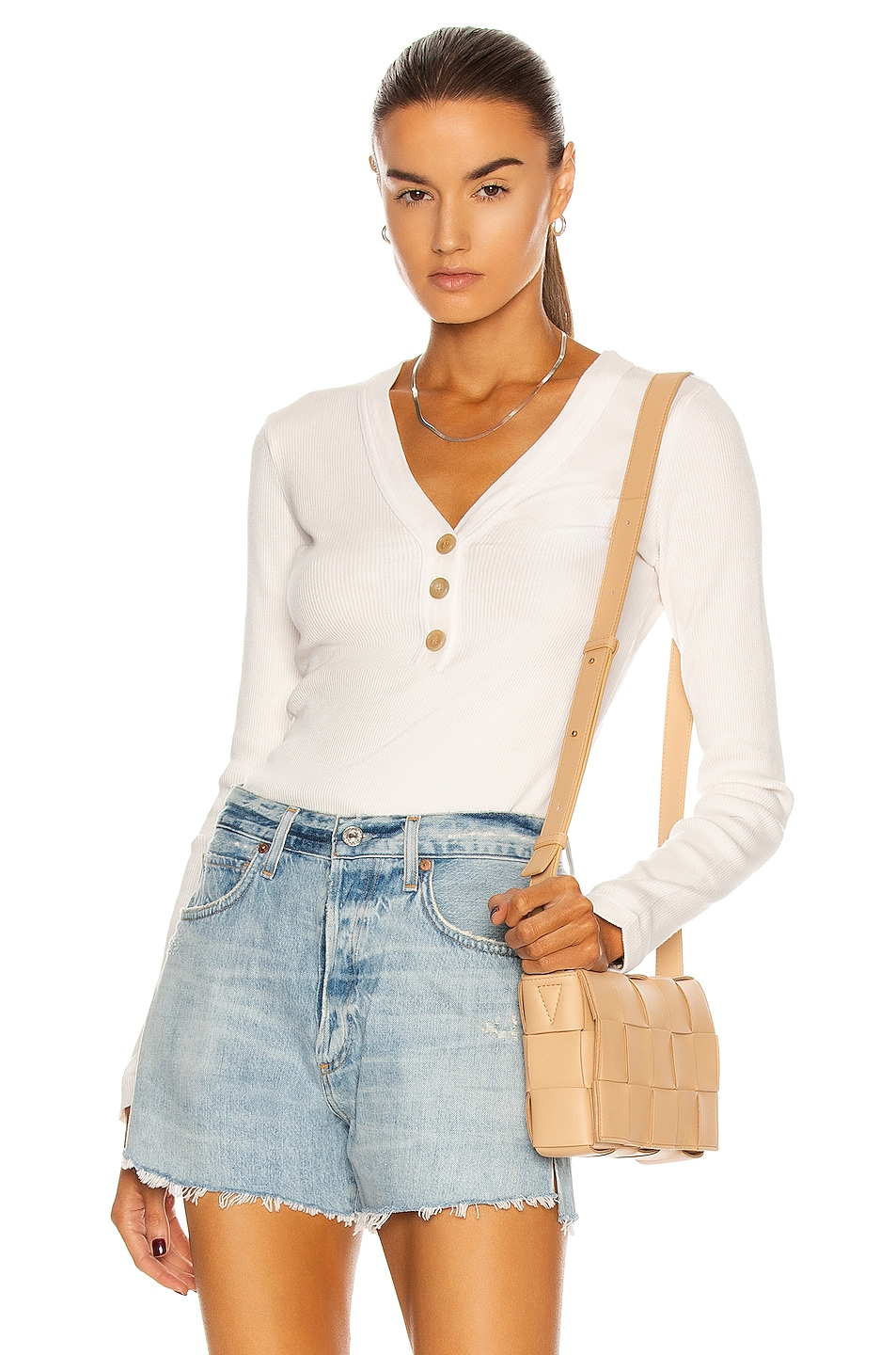 Image 1 of Citizens of Humanity Scarlett Rib Henley Top in Cream Pink