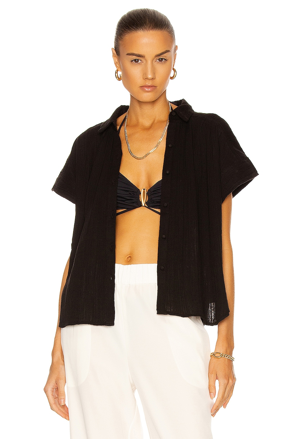 Image 1 of Citizens of Humanity Penny Short Sleeve Blouse in Ebony