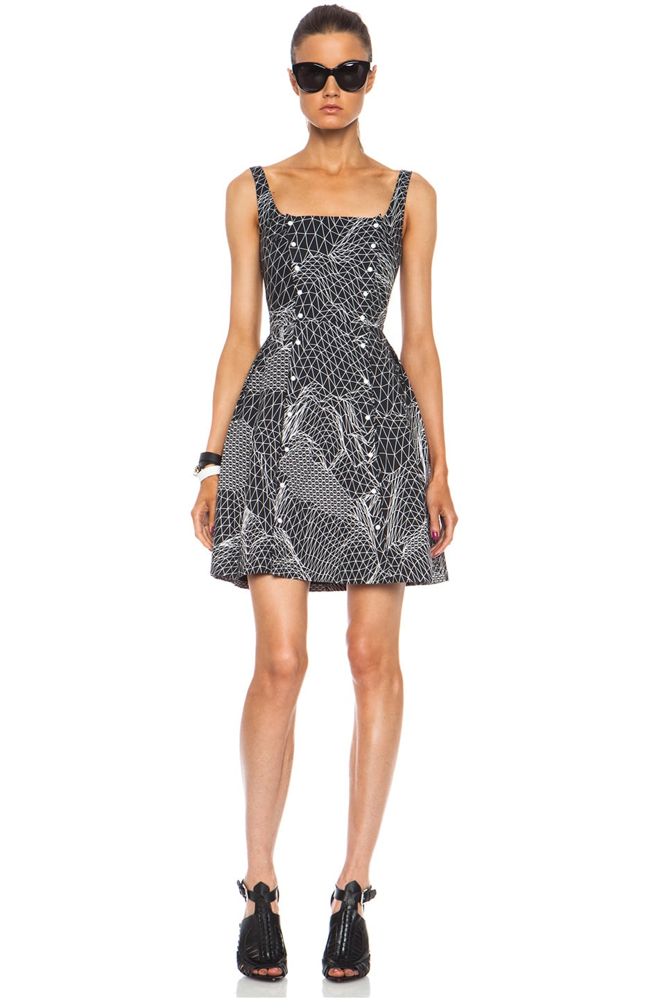 Image 1 of Christopher Kane Double Popper Princess Cotton Dress in Black