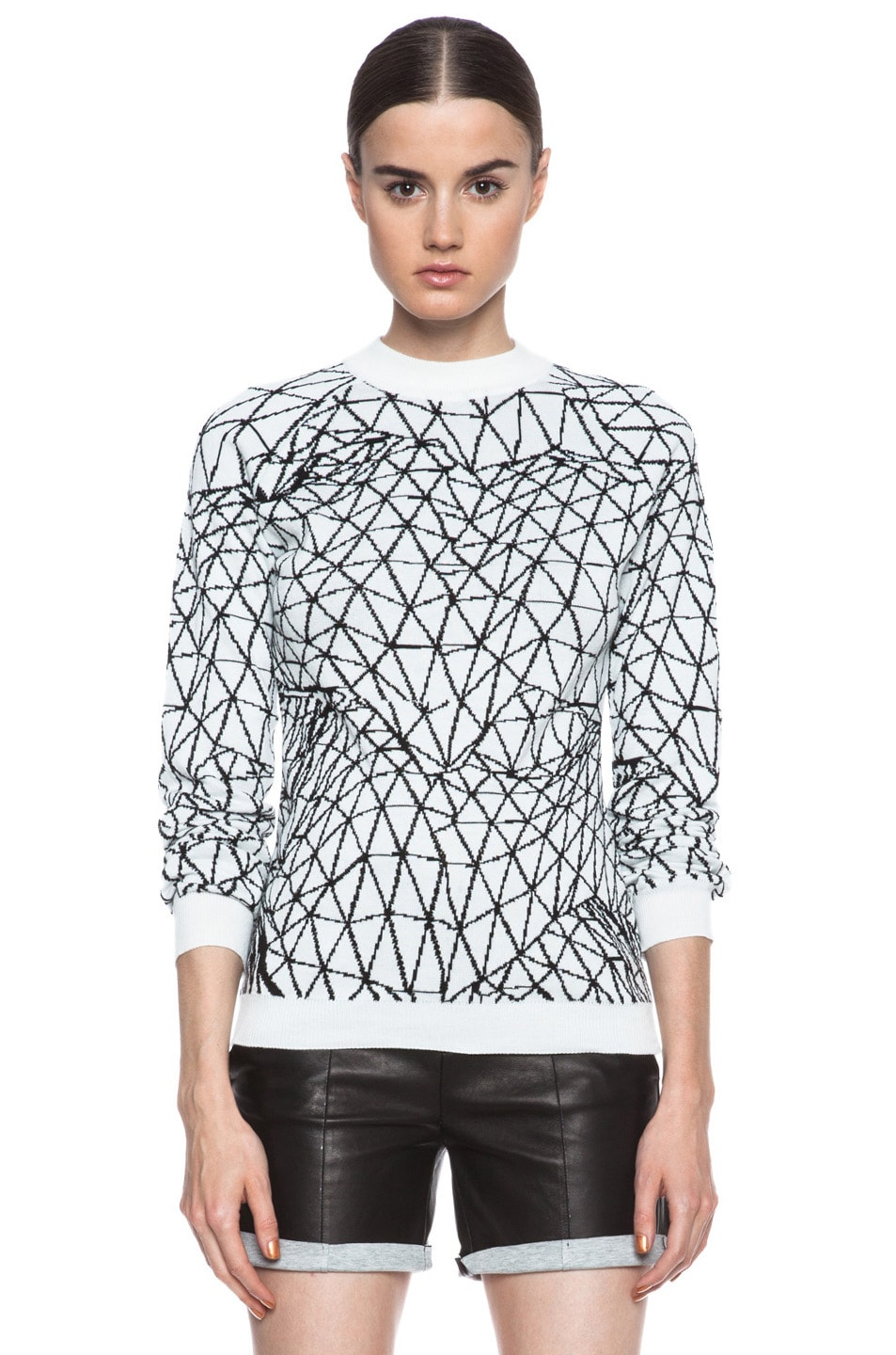 Image 1 of Christopher Kane Intarsia Terrain Cotton Fitted Sweater in White