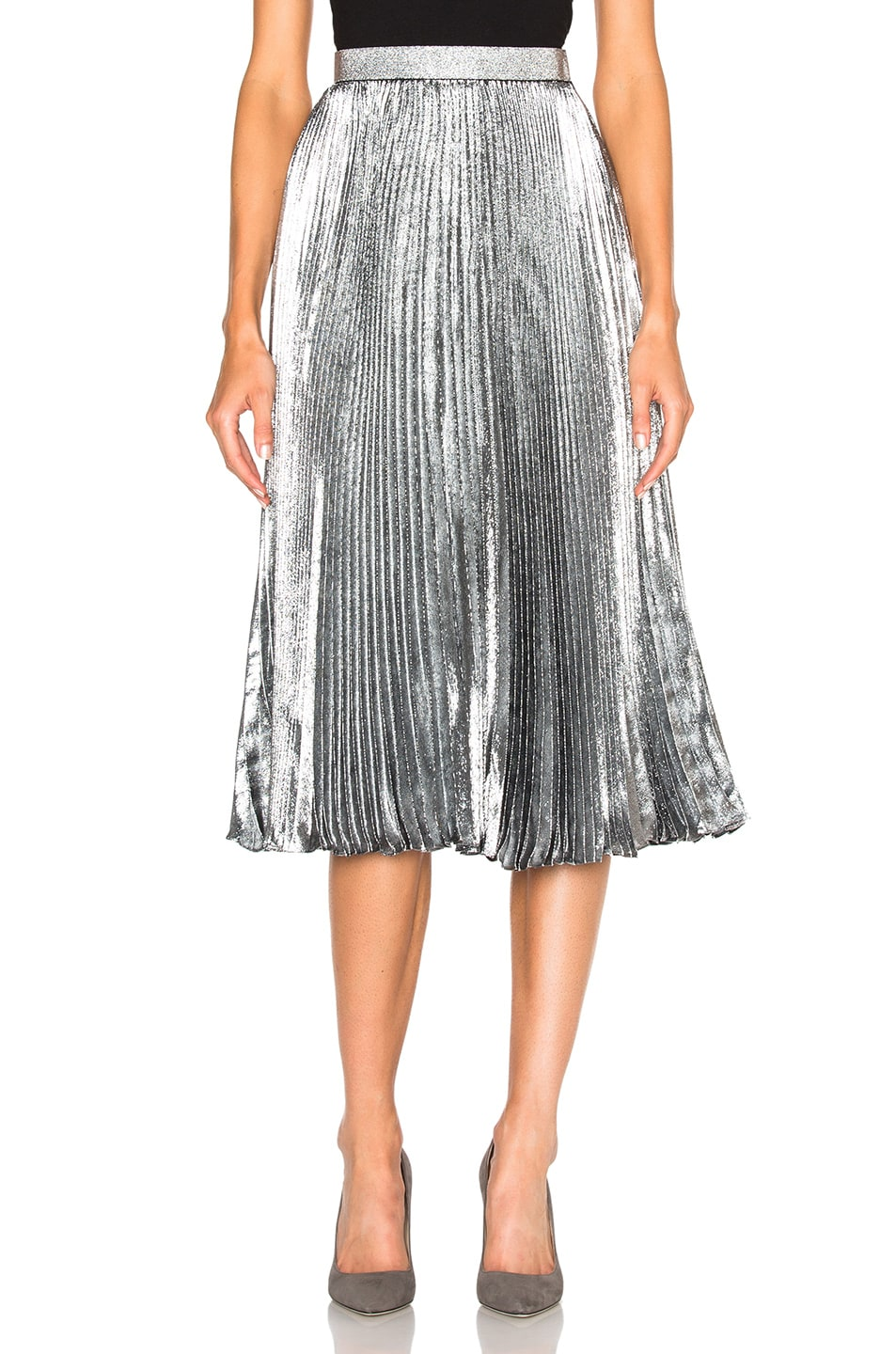 Image 1 of Christopher Kane Lurex Pleated Hotfix Skirt in Silver