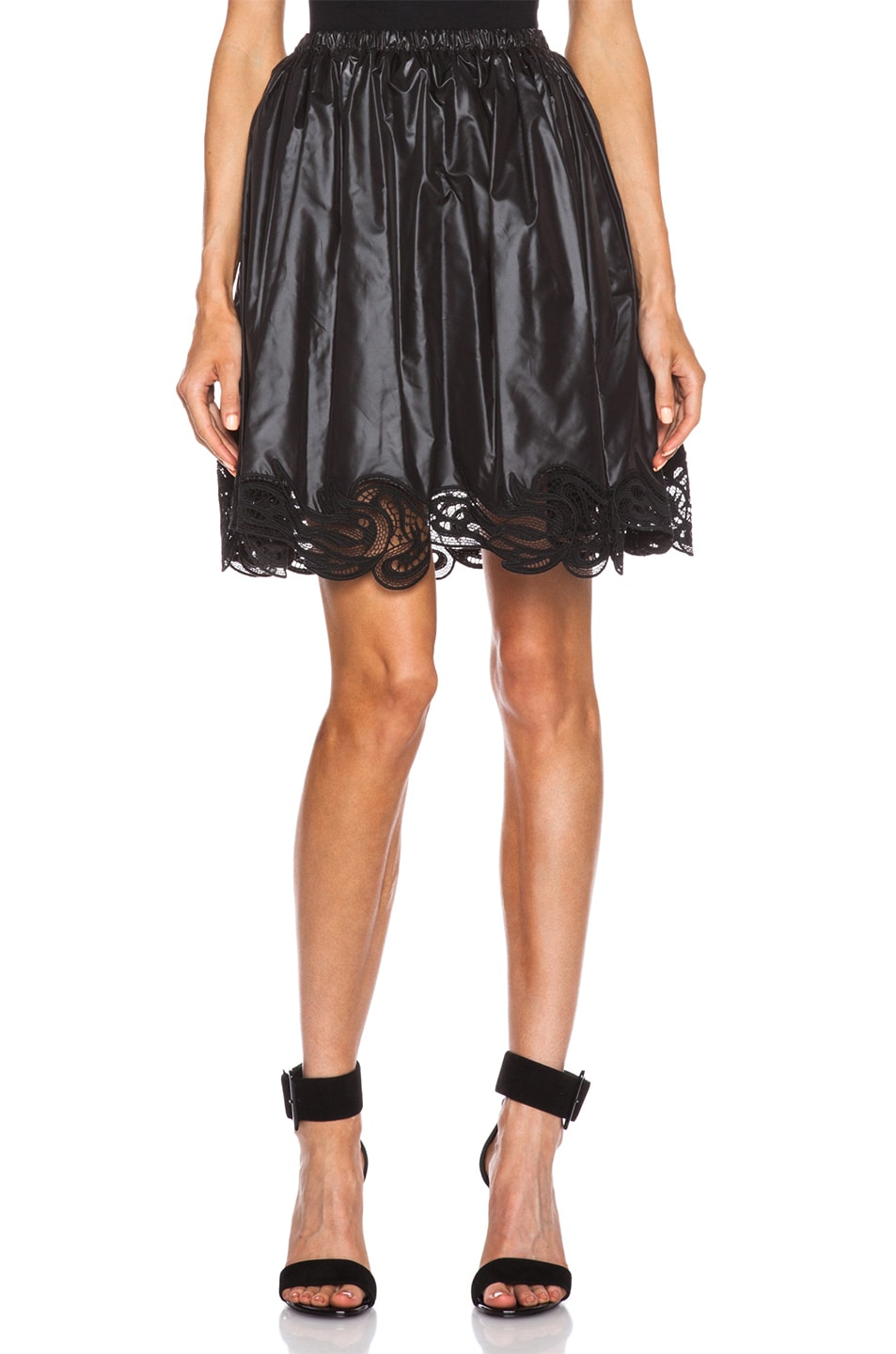 Image 1 of Christopher Kane Poly & Lace Gathered Mini Skirt in Black