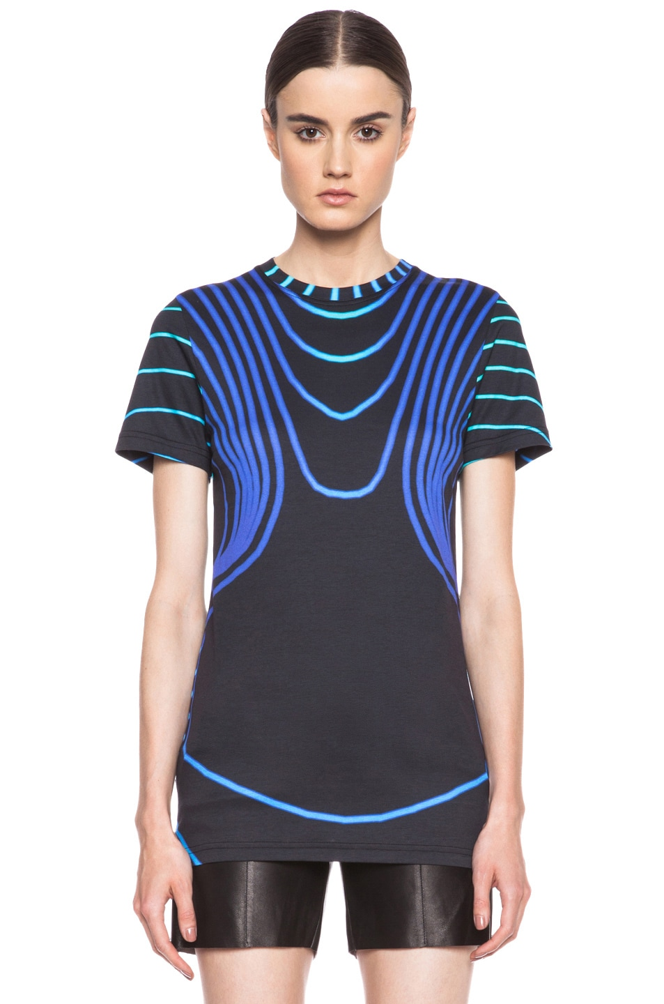 Image 1 of Christopher Kane Grid Face Digital Cotton T-Shirt in Blue