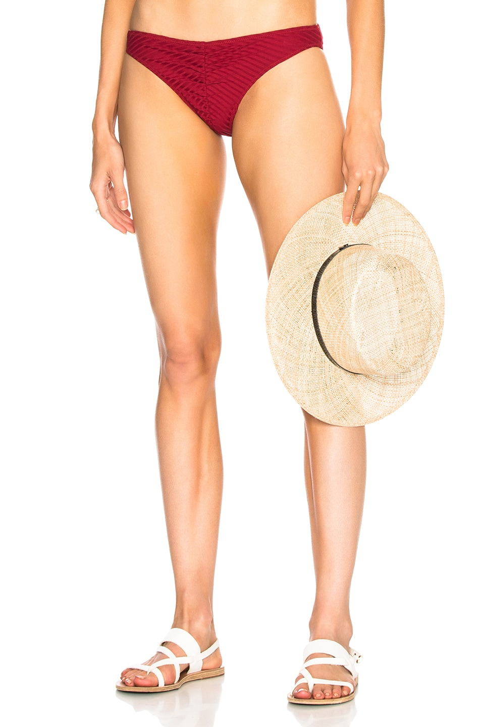 CALI DREAMING RUCHED PANDORA BOTTOM IN RED