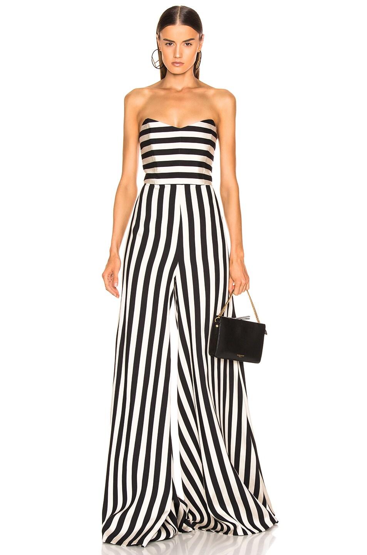 Image 1 of Caroline Constas Forbes Jumpsuit in Black & White