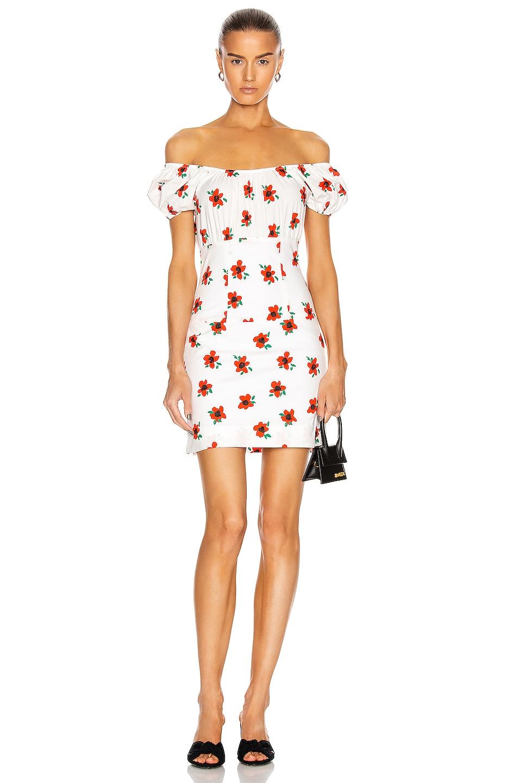 Image 1 of Caroline Constas Calla Mini Dress in White & Red