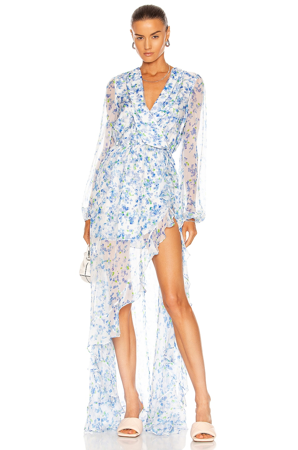Image 1 of Caroline Constas Vivian Gown in Blue Abstract Blossom