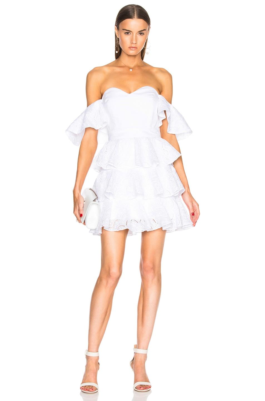 Caroline Constas Irene Ruffle Mini Dress in White
