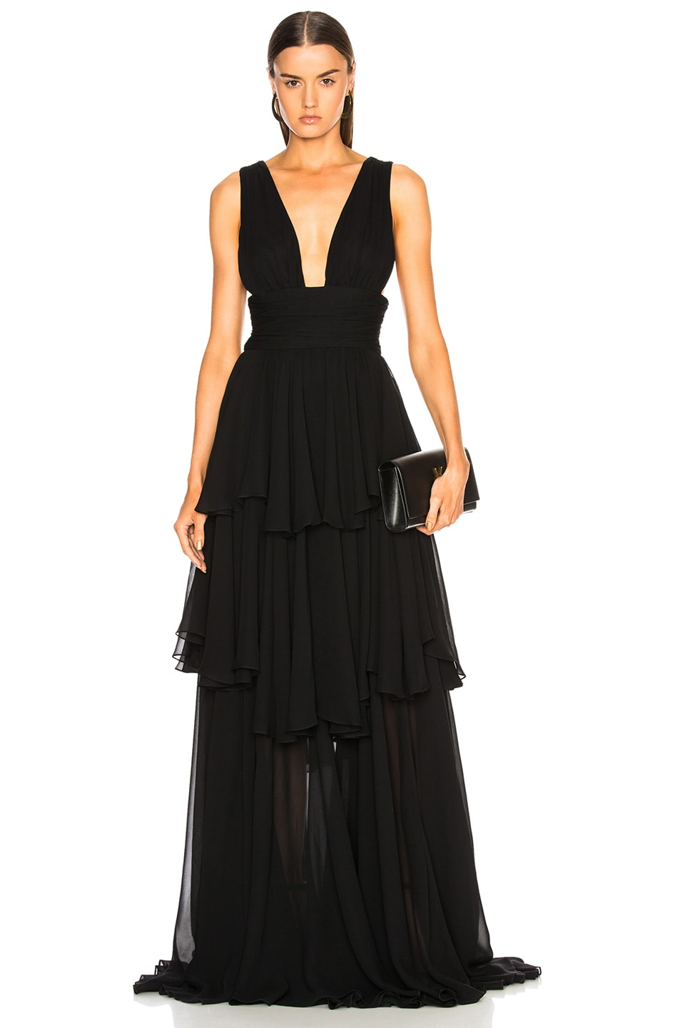 Image 1 of Caroline Constas Paros Maxi Dress in Black