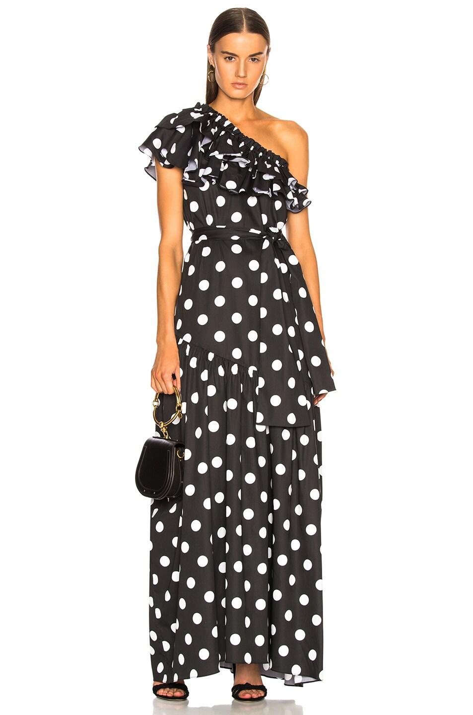 Caroline Constas Rhea Dress in Abstract,Black