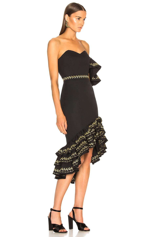 Image 2 of Caroline Constas Cam Dress in Black & Gold