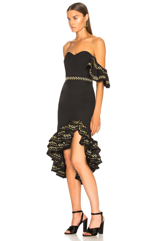 Image 3 of Caroline Constas Cam Dress in Black & Gold